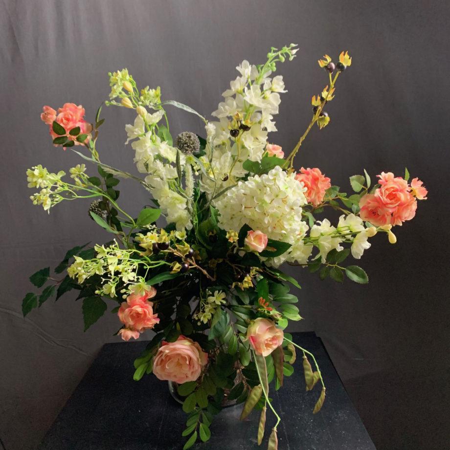 zijden bloemen boeket wit roze